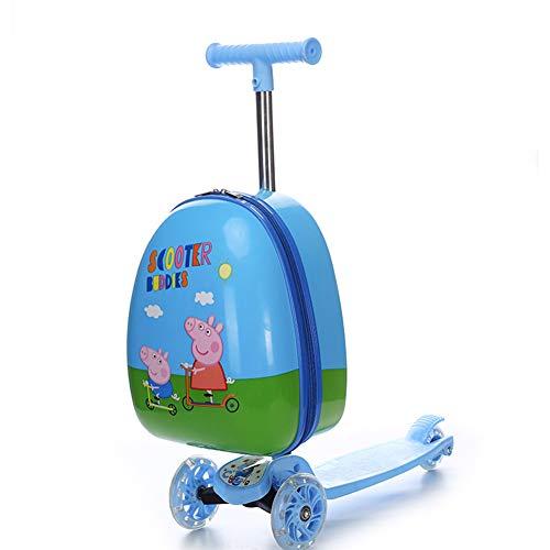 HLSUSAN Kinderscooter Reisekoffer Roller Trolley Handgepäck Rollkoffer Tretroller Kindergepäck Kinder Koffer mit 2 Rollen für Kinder Studenten,01