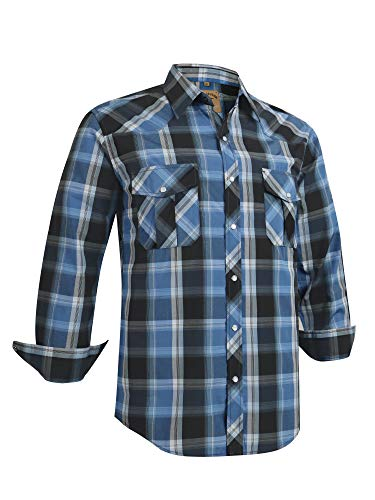Coevals Club Men's Long Sleeve Casual Western Plaid Pearl Snap Buttons Shirt (L, 4#Blue,Black)