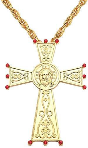 PPQKKYD Halskette 18 vergoldete Jesus Kreuz Truhe Anhänger orthodoxe Kirche Franco Herren Lange Halskette Goldkette religiöser Taufe Schmuck