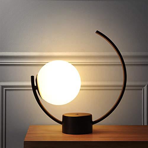 RGF Creative Modern Simple LED Blanco/Negro Metal E27 - Lámpara de Mesa/luz Nocturna (Color : Black, Size : B)