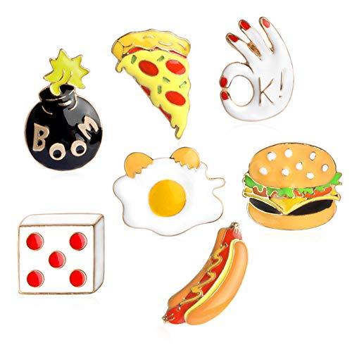 HSQSC Broschen Anstecknadeln 7 Teile/Satz Pizza Hamburger Hot Dog Pochiertes Ei Würfel Ok Boom Brosche Denim Mantel Dornschließe Hemd Abzeichen