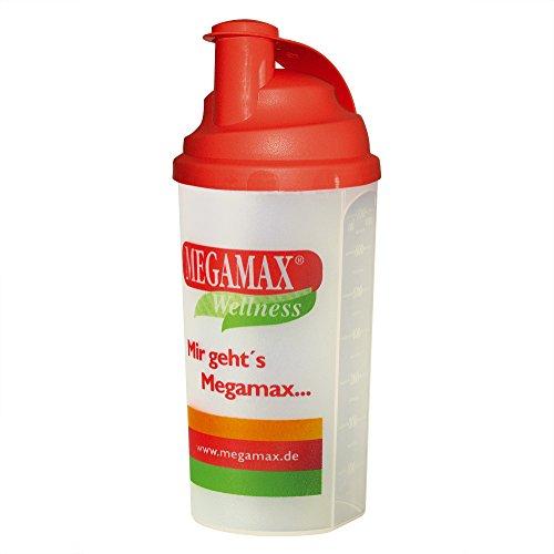 MEGAMAX Shaker [Protein Eiweiß Mixer] für auslaufsichere Shakes | Trinkflasche für Eiweißshakes u. Für Krafttraining, Bodybuilding & Fitness | Mixbecher mit Siebeinsatz Schraubverschluss, Messskala (rot, 700 ml)