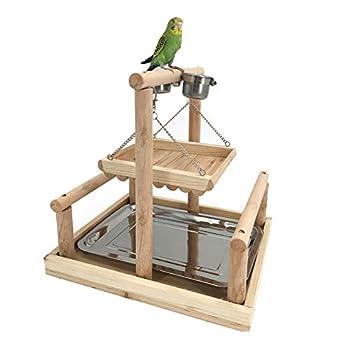 ZWW Pieds pour Cages À Oiseaux, Perroquet en Bois Formation Fitness Gym Clôture De Gibier Terrain De Jeux Perche avec Tasse d'alimentation & Balançoire