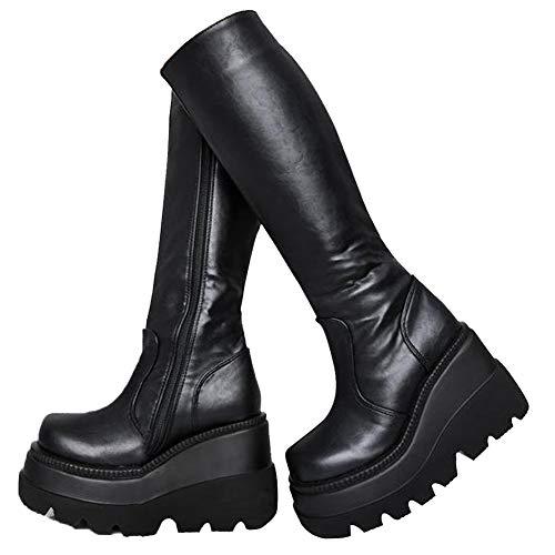Damen High Platform Mid Calf Wedges Klobige High Heels Round-Toe Side Zip Fashion Kampfstiefel für Frauen