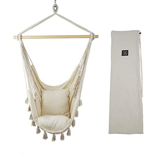 BALU AND CREW Hochwertiger Hängesessel Beige extra große Sitzfläche mit 2 Sitzkissen und Buchtasche inkl. Befestigungsset für Indoor & Outdoor 150kg (Beige) - 2
