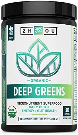Zhou Deep Greens Organic Morning Complete Prebiotic Probiotic Powder Green Blend of Wheatgrass product image