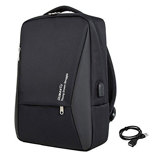 Mochila Ordenador Portatil 14'-15' USB Puerto Negocios Impermeable Laptop Backpack para Trabajo Diario (Negro)