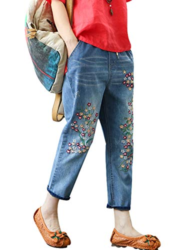 Duberess Women's Denim Jeans Trousers 100% Cotton Loose Pants with Embroidery (M-XL) (L, Cropped Style 2)