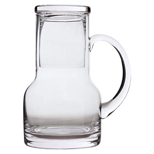 Lily's Home Bedside Night Water Carafe with Tumbler Glass and Handle, Use in Bedroom Bathroom, or Kitchen, Use Cup as Lid, Lead Free Glass. 16 Ounces