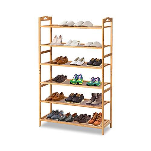 TOOCA 27''×10''×43'' Bamboo Shoe Rack 6 Tier Shoe Shelf Closets Storage Organizer Free Standing Shelves Bamboo Color for Entryway Closet Living Room Bedroom Bathroom for Books and Flowerpots Plants