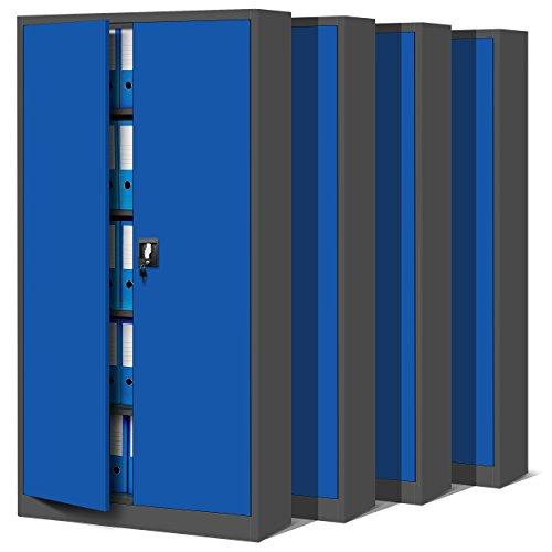 4er Set Aktenschrank C001 Metallschrank Stahlschrank Werkzeugschrank Büroschrank Lagerschrank Universalschrank Pulverbeschichtung Flügeltüren 185 cm x 90 cm x 40 cm (anthrazit/blau)