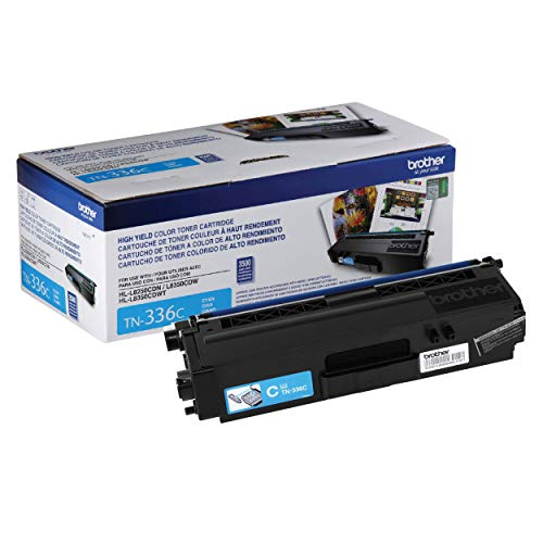 Brother Genuine High Yield Toner Cartridge, TN336C, Replacement Cyan Toner, Page Yield Up To 3,500 Pages, Amazon Dash Replenishment Cartridge, TN336