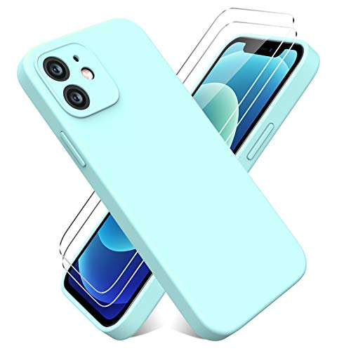 Vansdon Funda Compatible con iPhone 6.1 Pulgadas 12 + 2 Cristal Templado [Funda Blanda Silicona Líquida] [Protección de Cuerpo Completo]- Azul Claro