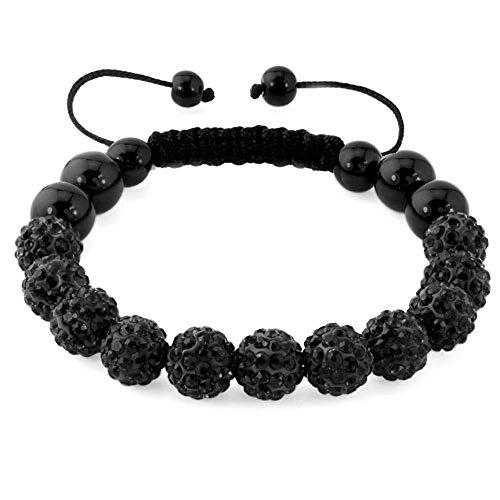 CharmSStory Disco Ball Bead Bracelet Black 10MM Synthetic Crystal Inspired Handmade Adjustable