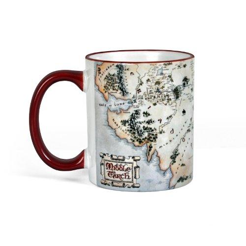 Elbenwald Herr der Ringe und Hobbit Keramik-Tasse Mittelerde-Karte Rundum-Druck 320 ml