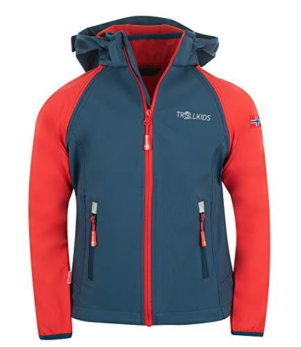 Trollkids Rondane Softshell Jacke Zip Off, Hellrot / Blau, Größe 128