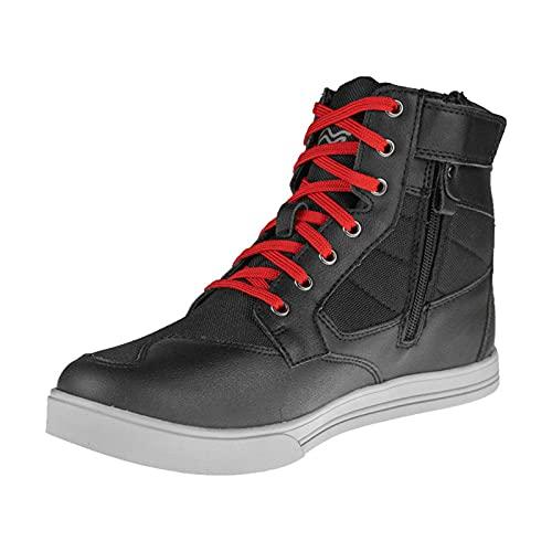 Sebasty Zapatos para Montar en Motocicleta Botas Protectoras de Motocross para Hombres,Zapatos Deportivos Transpirables Informales para Deportes de Motor,Red-41