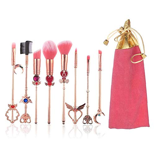 ZYY-Home curtain Pinceaux De Maquillage Magic Set, Sailor Moon Maquillage Pinceau Sakura Cosmétiques Tool Kit Poudre Liquide Crème Rose Applicateur Sac À Cordonnet Inclus 8Pcs,Rose