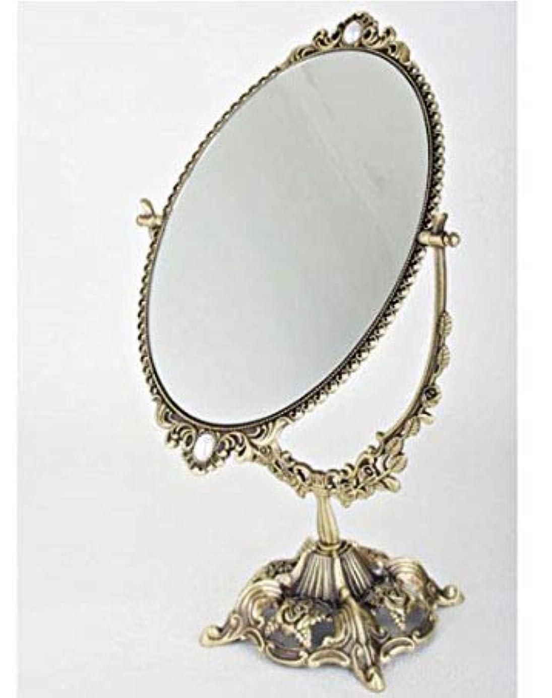 動脈急いで垂直銅材質の鏡, アンティーク?両面卓上ミラー … ローズ鏡 大きいサイズ、横21センチx立て38センチ、、