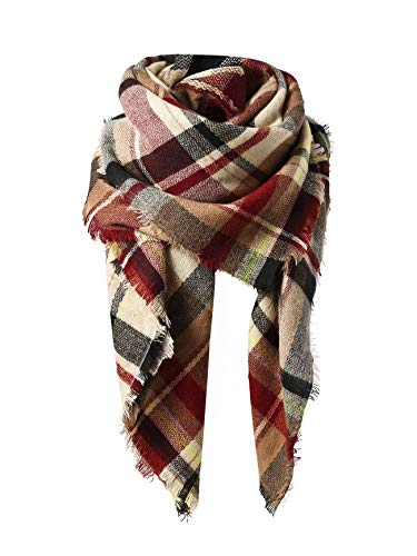 Trendy Women's Cozy Warm Winter Fall Blanket Scarf Stylish Soft Chunky Checked Giant Scarves Shawl Cape (One Size, Coffee Warm )