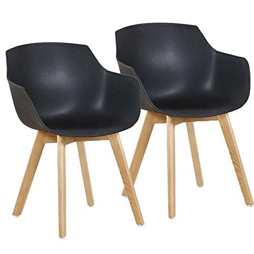 Lot de 2 Chaise Salle à Manger, H.J WeDoo Fauteuils Scandinave de Chaise latérale Design rétro avec Jambe de Bois de hêtre Massif - Noir