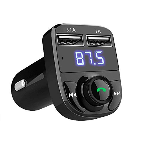 Bluetooth FM Transmitter Car Wireless Bluetooth FM Radio Adapter Support Hands-Free Calling, USB Flash Drive MP3 Music Player & 2 USB Ports Charger