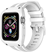 OXWALLEN Protection Stellar Series for Apple Watch Band with Case 44mm Series 4/56/SE, Liquid Silicone Straps with Protective Bumper Cover for iWatch 4/5/6/SE 44mm Men Women - White