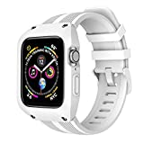OXWALLEN Protection Stellar Series for Apple Watch Band with Case 44mm Series 4/5, Liquid Silicone Straps with Protective Bumper Cover for iWatch 4/5 44mm Men Women - White