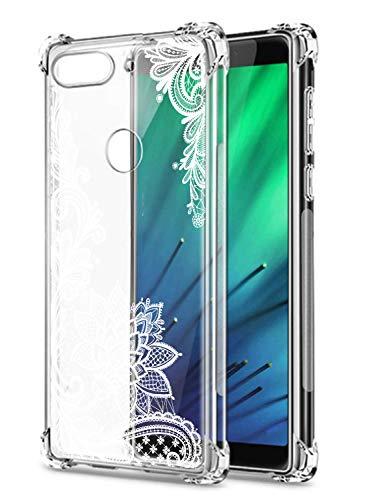 Suhctup Coque Comaptible avec Nokia 3.1 Plus Étui Houssee,Transparent Motif Fleur [Antichoc Protection des Coins] Crystal Souple Silicone TPU Bumper C