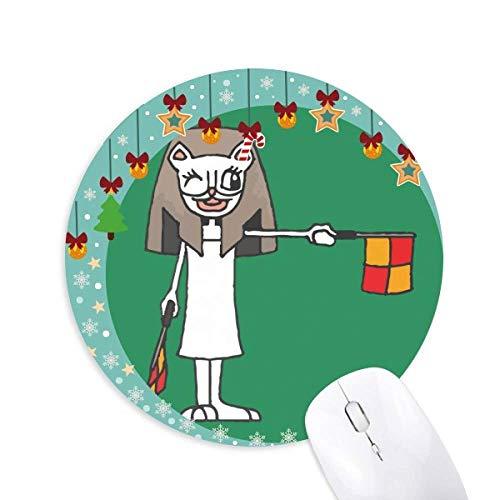 Handball-Schiedsrichter anzeigt die Flagge Cartoon Mummy Mouse Pad Jingling Bell Round Rubber Mat