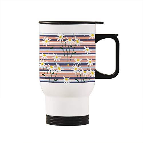 Thermobecher mit Gänseblümchen-Design, 425 ml, beheizbar, mit Griff, vakuumisoliert, doppelwandig, Geschenk für Ehemann, Vater, Mutter, Opa, Oma