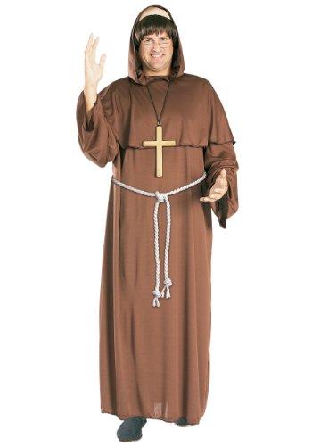 Frère Tuck moine costume. La taille adulte Très grande. 42-46 taille de la poitrine. Perruque, robe et ceinture.