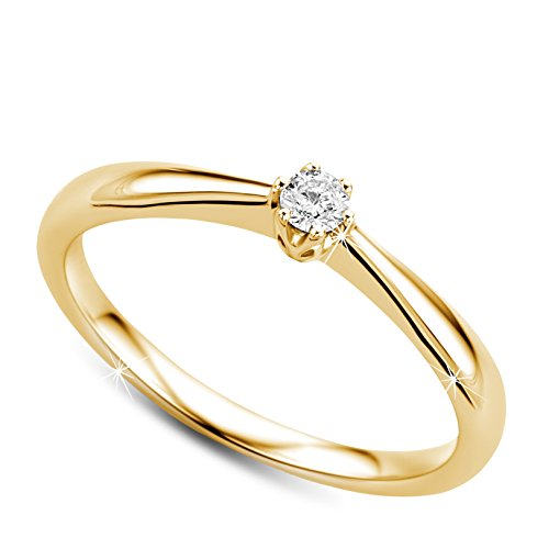Orovi Anello Donna Solitario con Diamante taglio brillante Ct 0.09 in oro Giallo 9 kt 375 Anello Fatto a Mano in Italia