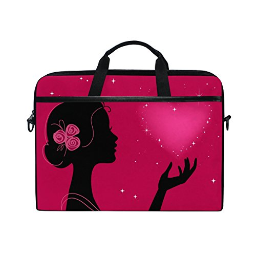 Laptop Case, Computer Sleeve Protective Bag Girl Heart Pattern 3 Layer with Durable Zipper for Lenovo Hp MacBook Pro Neoprene Notebook 14 15 inch Pink