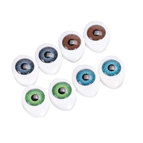 sharprepublic 4 Pair 4 Bulbi Oculari Ovali in Plastica con Retro Cava a Colori per Maschera da Bambola da 8 Mm