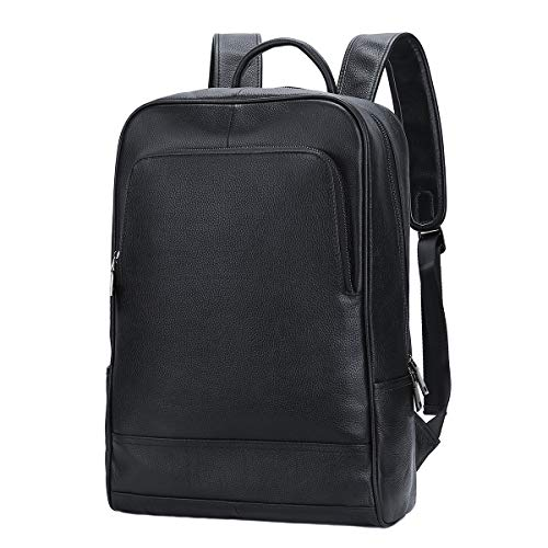 Leathario Mochila Tipo Caual Escolar Hombre Cuero Autentico Negro de Mano Backpack...