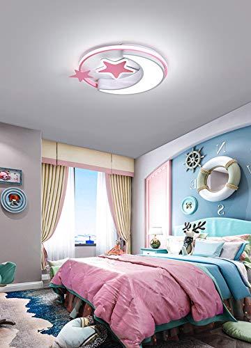 Lámpara de techo creativo de estrella y luna plafón elegante para dormitorio salón sala de juego iluminación de techo para infantil (Luz blanca, Rosa 45cm)