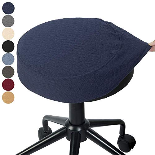 BUYUE Bar Stool Covers Round Washable Jacquard Chair Seat Slipcover for Dia.14-16.5', 1, Navy Blue