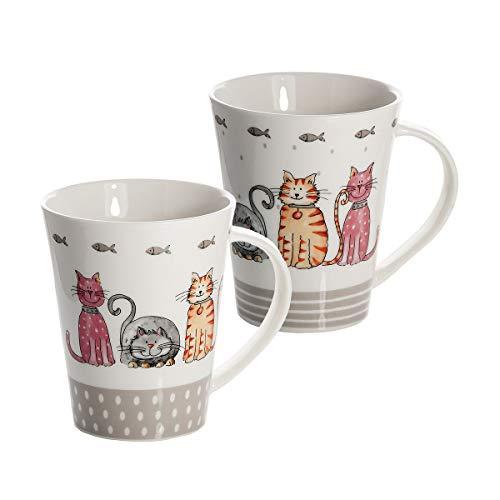 SPOTTED DOG GIFT COMPANY 2 Set große Tassen Kaffeebecher Mugs Keramik Porzellan, Spülmaschinenfest weiß mit Katzen Design, Schöne Geschenkideen für Katze und Tier Liebhaber Geschenke