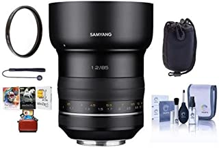 SAMYANG XP 85mm F1.2 High Speed Lens with AE Chip for Canon EF - Bundle with Lens Pouch, 86mm UV Filter, Cleaning Kit, Capleash II, Mac Software Package