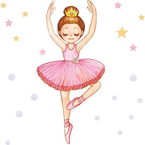 Wandsticker Kinderzimmer Mädchen Ballerina von greenluup Tänzerin mit Sternen & Punkten Mädchenzimmer Kleinkind Mädchen