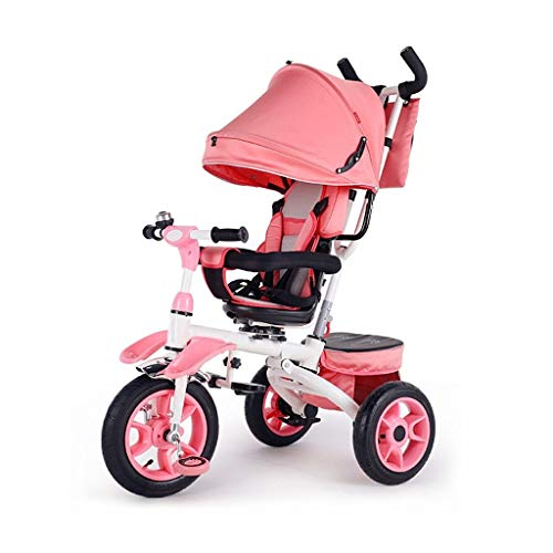 GYF Tricycle, Easy Folding Multi-function 4-in-1 Tricycle With Swivel Seat, Two-way Seat Design, Baby Outdoor Tricycle, 3 Colors, 120 * 54 * 58cm (Color : Pink)
