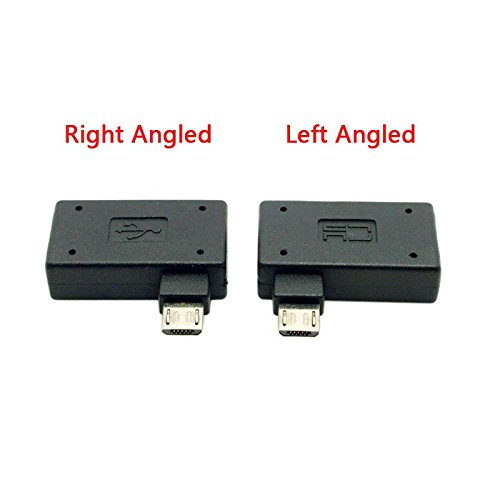 CY 2pcs 90 Degree Left & Right Angled Micro USB 2.0 OTG Host Adapter with USB Power for Cell Phone & Tablet