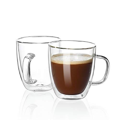 Sweese 414.101 Large Glass Coffee Mugs - 16 oz Double Walled Insulated Mugs with Handle, Perfect for Latte, Americano, Cappuccinos, Tea Bag, Beverage, Set of 2