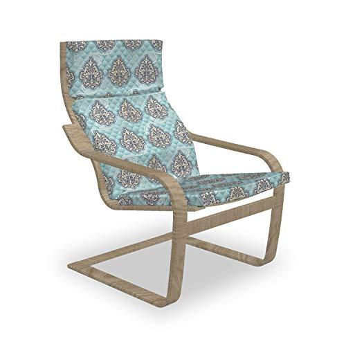 ABAKUHAUS viktorianisch Poäng Sessel Polster, Rokoko-Ära Designs, Sitzkissen mit Stuhlkissen mit Hakenschlaufe und Reißverschluss, Blassblau Elfenbein