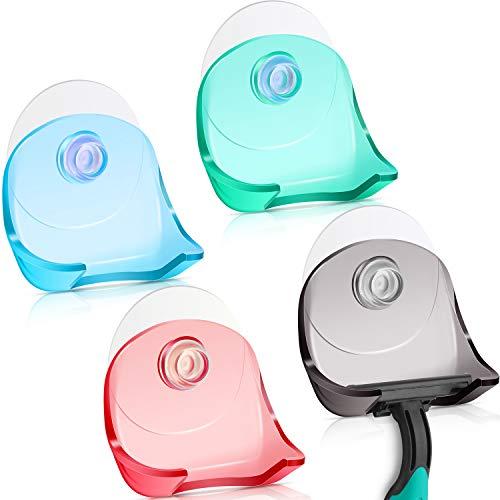 4 Stück Rasierer-Halter mit Saugnapf Dusch-Rasierer-Halter selbstklebend Rasierer-Wandhalterung Badezimmer Organizer Haken Aufhänger für Glasfliesen