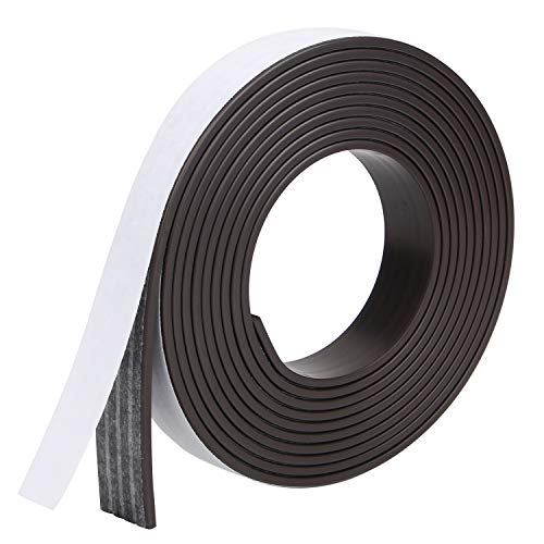 RKZCT 7.2 Feet Magnetic Tape Roll Flexible Magnetic Strips with Adhesive Backing Magnet Strips with Strong Self Adhesive for Crafts, DIY, Office Supply (Width: 0.59 in/15mm, Thick: 0.08 in/2mm)