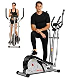 ANCHHER Elliptical Machine, Compact Elliptical Exercise Machine with 8 Magnetic Resistence Levels, LCD Monitor, Heart Rate Sensor and 330lbs Weight Capacity for Indoor Home Gym (Gary)