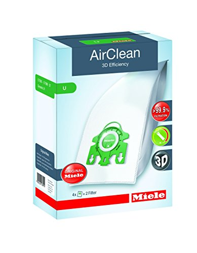 Miele 10123230 AirClean 3D Efficiency Dust Bag, Type U, 4 Count, 2 Air Filters , Green