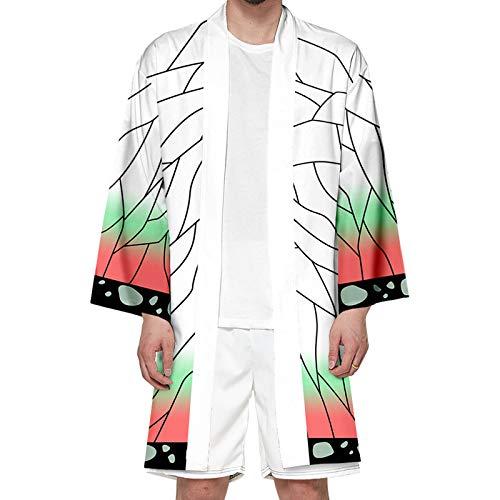 YZJYB Anime Demon Slayer Kimono 3D Estampado Disfraz De Cosplay para Hombre Mujer Moda Camisa De Manga Larga Uniforme Halloween Capa,Kochou Shinobu,S